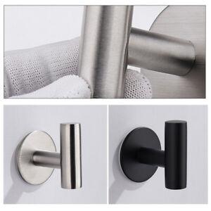 2x Wall Hook Self-adhesive Hanger Door Kitchen Bathroom Towel Stainless Steel
