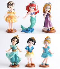 6pcs/lot 9cm Princess Pvc little mermaid Snow White Figure Dolls for girl gifts