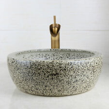 Tempered Ceramic Basin Sink With Waterfall Faucet Taps Vessel Water Drain Set
