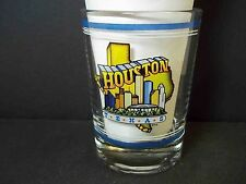 Houston round heavy base shot glass souvenir Skyline Information Libbey 3.5 oz