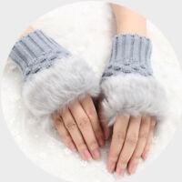Womens Plush Fur Hand Wrist Winter Warm Knitted Ladies Fingerless Mittens Gloves