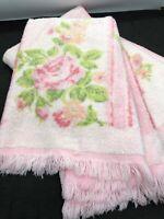 Two Vintage Cannon Pink Rose Floral Hand Towels~ True Vintage Excellent ~~