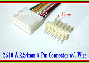 30 x 6Pin way 2510 2.54mm male female connector housing adapter wire cable 30cm