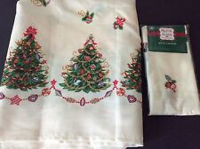 Magical Season Traditional Christmas Tablecloth 4 Napkins Painted Treesornaments