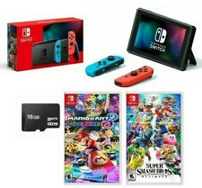 🔥NEW Nintendo Switch Neon SUPER BUNDLE + MarioKart8 + Super Smash Bros + 16GB🔥