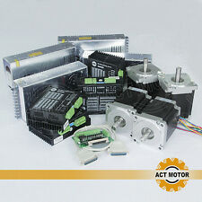 【US Ship】4 axis 4 nema 34 stepper motors 1232oz.in 5.6A&4 drivers ACT Motor CE