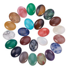 25Pcs Mixed Color Natural/Synthetic Gemstone Cabochons Oval Shape Jewelry Making