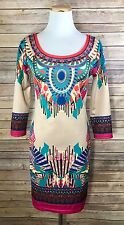 Flying Tomato Boho Aztec Kaleidoscope Sheath Bright 3/4 Sleeve Mini Dress Sz L