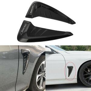 Pair Universal Car Fender Side Air Vent Hood Trim Cover Decoration Sticker Black