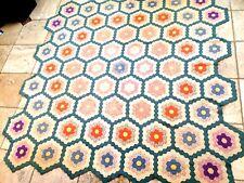 """""""Grandmother's Flower Garden"""" Pattern Cotton Quilt, Hand Sewn. 94"""" X 94"""".Vintage"""