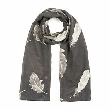 Ladies Women's Classy Gold Embroidered Feather Scarf Maxi Wrap Large Warm & Soft