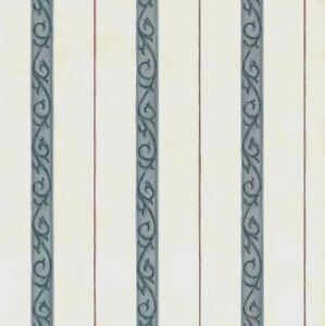 Vintage Stripes Waverly Wallpaper Scroll Red Blue Cream 576561 Double Rolls