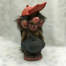"Nyform Discontinued Troll Doll Norway W/ Tag 6.75"" Boy Red Hat"