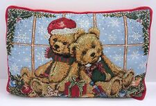 Teddy Bears Tapestry Christmas Pillow