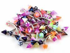 10 Acero Quirúrgico Curvado Ceja Barras colorido Cono Con Picos Mixto joyas de cuerpo