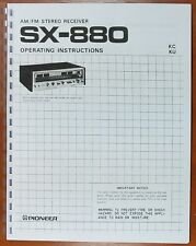 Pioneer SX-880 Stereo Receiver Owners Manual