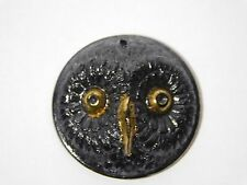 ANTIQUE Jet Black GOLD LUSTER Glass Realistic Owl Bird Picture Button 1 1/8