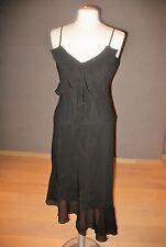 Zwarte zijden jurk met ruches van Isabell Kristensen NIEUW NEW