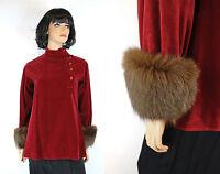 Vintage 70s Shirt Sz M Calvin Klein Red Velvet Brown Fox Fur Cuffs High Collar