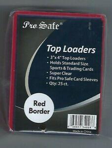 (100) Pro Safe Red Border Card Topload Card Holder  & 100 Sleeves