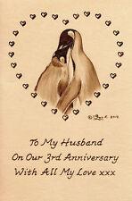 """Personalizzato Pinguini Bird 3rd anniversario di matrimonio 6"""" x 4"""" opera d'arte in pelle"""