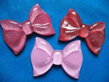 6 Large Glitter Resin Hair Bow Flatback-3 colors B175