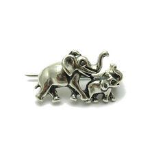 Echte Sterling Silber Brosche zwei Elefanten massiv punziert 925 handgefertigt