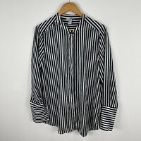 H&M Womens Blouse Top US 14 AU 18 Blue White Striped Long Sleeve V-Neck