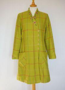 Gudrun Sjödén Lime Checked Wool Cotton Light Coat w/ Emroidery Size: M