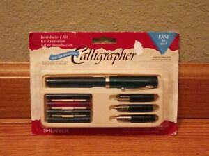 Vintage Sheaffer Calligraphy Fountain Pen Set With 3 Nibs & 4 Ink Cartridges