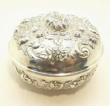 Large Ornate Flower Repousse Round Box Sterling Coin Silver 900 392g