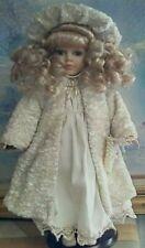 "Bisque Doll,16"" Inches, Cream Dress, Cream Coat & Hat, Beaded Purse, Cream Shoes"