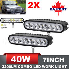 Pair 7 Inch 40W CREE LED Flood Spot Combo Work Light Bars Offroad 4WD Ellip Beam