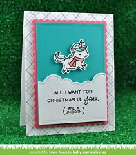 Lawn Fawn clear acrylic stamps & matching die - WINTER UNICORN, Christmas