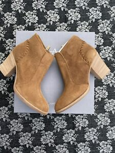 Aquatalia Fern Brown Suede Ankle Bootie Size 8.5 Boots Women's Heel