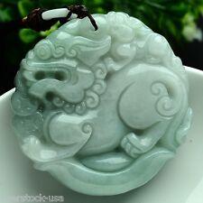 FINE Certified 100% Natural A Grade Jade (Aqua Jadeite) Pixiu Round Pendant