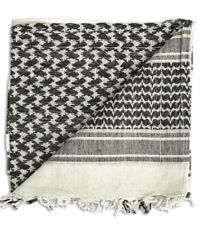 100% Cotton Military Shemagh Scarf Keffiyeh Veil Tactical Army Head Wrap BW