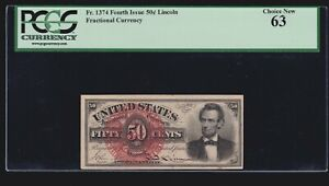 US 50c Lincoln Fractional w/ Seal Plate # 20 FR 1374 PCGS 63 Ch CU (-001)
