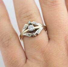 Antique 14K YG 1/3 CT Diamond Bridal Ring Set Vintage Engagement Band Estate