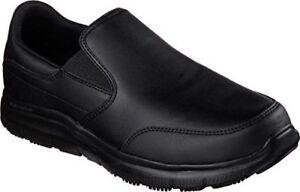 77071 Skechers Mens Work Relaxed Fit Bronwood Black Loafer Slip Resistant A5