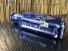 Vtg. Cobalt BLUE Glass BOROLYPTOL medicine bottle MOUTH WASH OXIDATION Patina NY