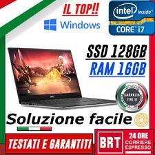PC NOTEBOOK PORTATILE DELL XPS 13 9360 CPU i7 7Y75 16GB SSD 128GB WIN10 FULL HD!