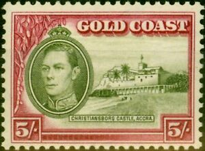 Gold Coast 1938 5s Olive-Green & Carmine SG131 P.12 Good MNH