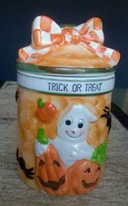 RARE - PANWARE Home Essential 3D Ceramic Witches Brew HALLOWEEN JAR w/ Lid - NEW