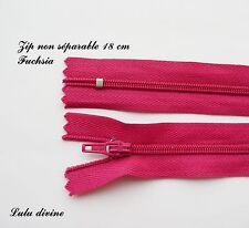 Zip/ Fermeture éclair simple non séparable de 18 cm, Couleur Rose fuchsia