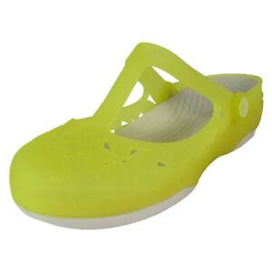 Crocs Womens Carlie Mary Jane Flower Flat Shoes, Chartruese/Stucco, US 6