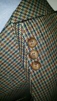 44R Orange Teal Plaid Tooth Check Tweed Wool Blazer Sport Coat Jacket OverCheck