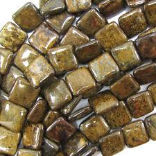 """14mm bronzite flat square beads 15.5"""" strand"""