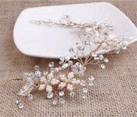 Diamante Bridal Accessories Crystal Blossom Wedding Hair Vine Pearls Hair Halo