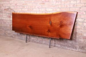 George Nakashima Organic Modern Natural Walnut Slab King Size Floating Headboard